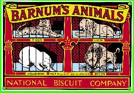 Barnum's Animal Crackers. First manufactured in c.1902 during America's Gilded age era, by the National Biscuit Company. ~ Adolphus Green, (1843-1917) founder of the company, merged 40 different  bakeries, in c.1890. Thus forming the company in c.1898, and became it's first president. National Biscuit Company known as, NABISCO. ~~ {cwl}