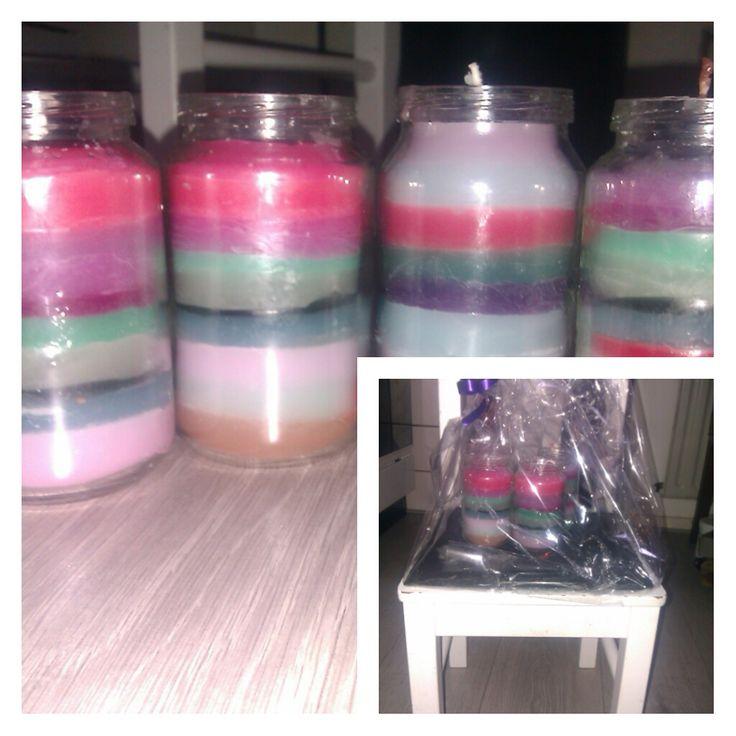 zelfgemaakte kaarsen #candle #selfmade Met leuke schaal en ingepakt