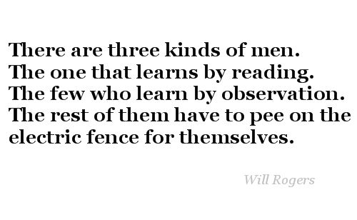 Will Rogers quote re: learning by trial and error.