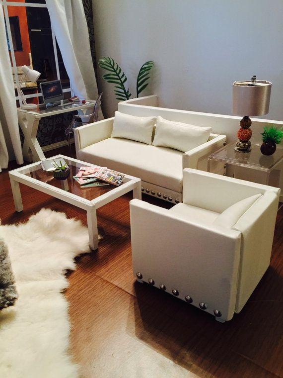 1 6 Scale weiß Wohnzimmer Couch Sofa-Möbel-Satz für Barbie Fashion - barbie wohnzimmer möbel