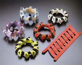 Mayumi Matsuyama, leather jewelry - small strips with simple cuts make ornate design - sabrina