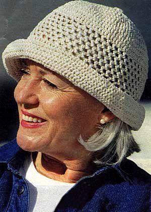 """Crochet hat in """"Ribbon"""". One-size. ~ DROPS Design"""