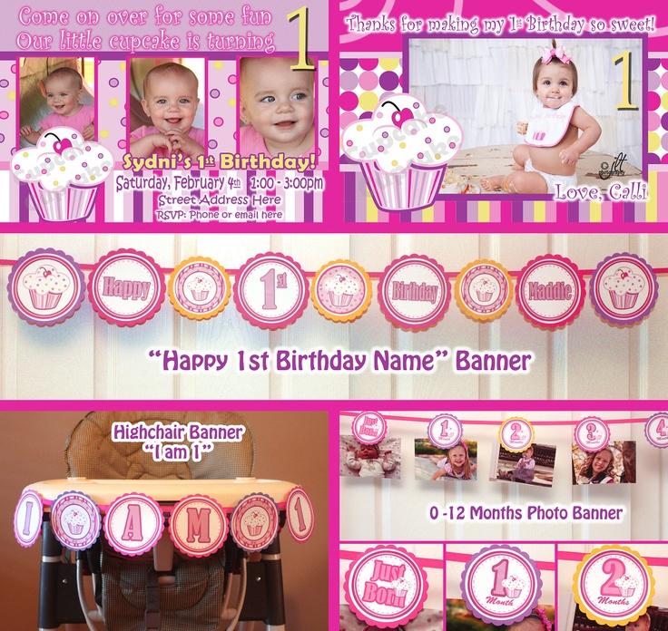 Lil Cupcake Banner 1st Birthday Party Package 1 year Birthday Party Lil Cupcake Theme  Girl 1st Birthday  (DIY Digital Printable PDF). $39.99, via Etsy.
