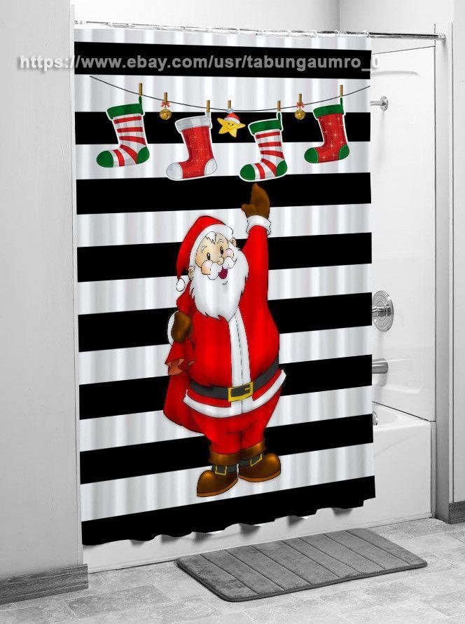 "New Exclusive Stripes Black White Santa Christmas Shower Curtain 60""x72"" | eBay"