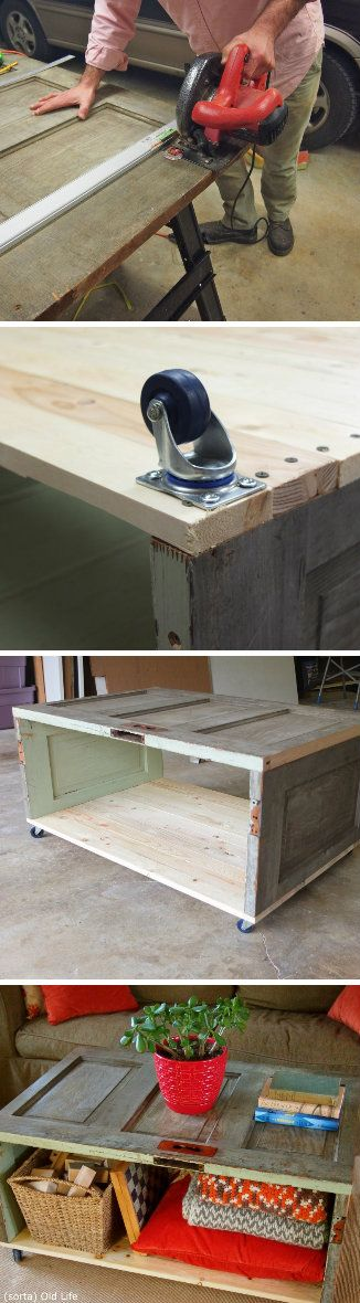 Another cool idea I'll never get to.  Salvaged Door Coffee Table