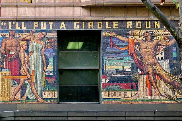 """Melbourne's Newspaper House mosaic was designed by Napier Waller in 1932. Waller was the leading neo-classical mural painter of the period. The mosaic was commissioned as part of a new facade for the original 1884 building. The theme of the mosaic was suggested by Mr. Theodore Fink, a director of the company, with the text, """"I'll put a girdle round about the earth"""". The mural is read from left to right and celebrates technological advances in the progress of mankind."""