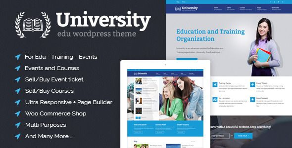 University #WordPress Template on #ThemeForest - #eductation, #event, #courses #webdesign #inspiration #woocommerce #multipurpose #business #corporate #parallax #responsive