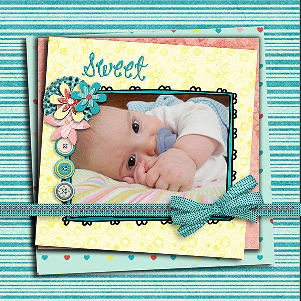 Wishful Digital Scrapbook Kit in Lovely Turquoise Blue,  Pink & Yellow -  Buy 2 Get 1 Free.via Etsy.