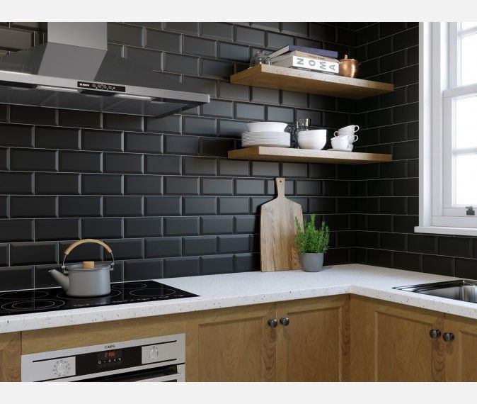 Metro Matt Black Wall Tile Metro Wall Tiles From Tile Mountain In 2020 Kitchen Tiles Design Black Tiles Kitchen Kitchen Wall Tiles