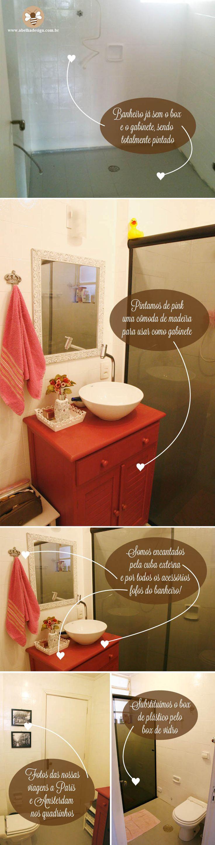 Como transformar um banheiro antigo sem reforma | Abelha Design - Convites de casamento