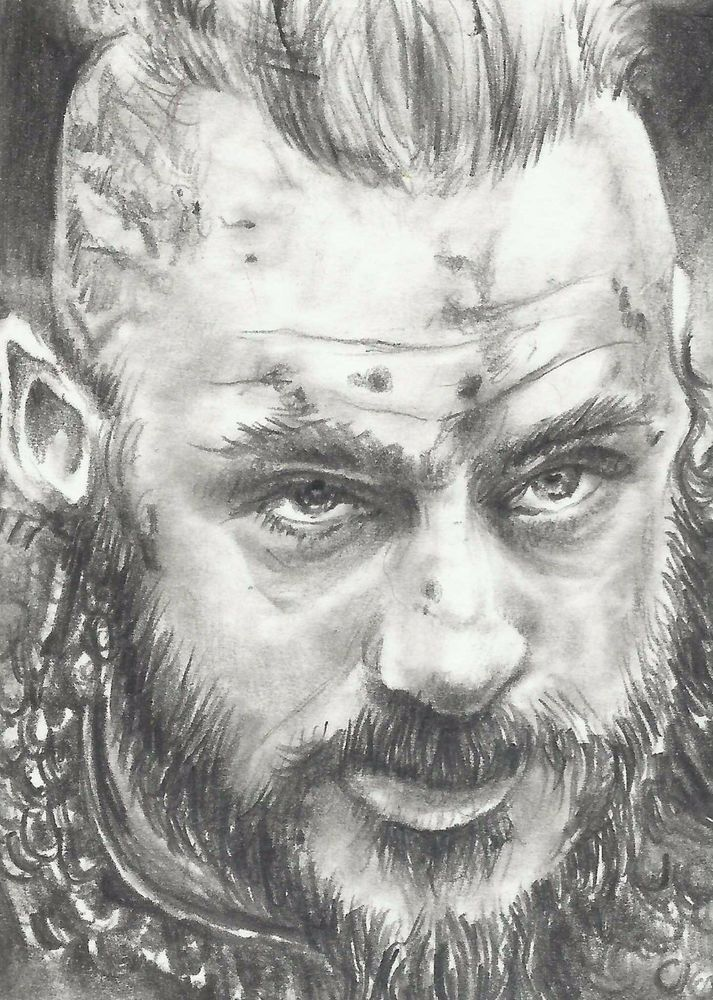 Original aceo drawing vikings ragnar lothbrok pencil for Viking pencils