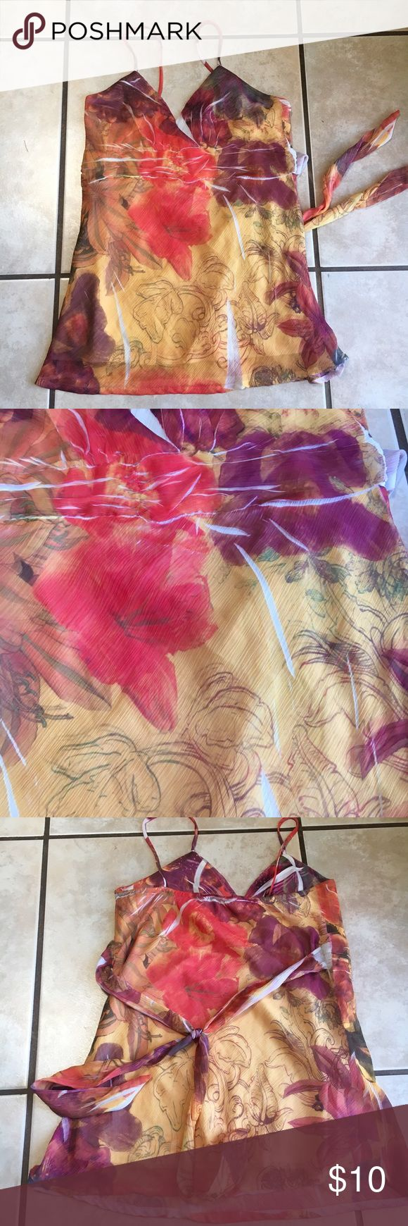 Gorgeous Flattering Boutique Top I SHIP SAME OR NEXT DAY! Beautiful flattering top, bought from Miami boutique. Measures about 26 inches from top of strap to bottom hem, sheer overlay with soft lining, float material, ties in back, gorgeous gold, maroon, coral Floral design Tops Blouses