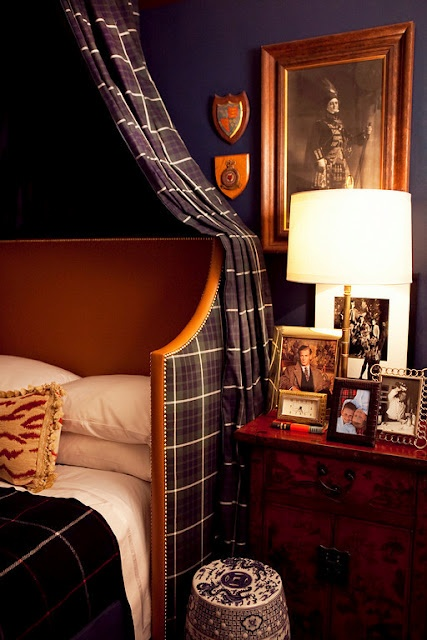 Plaid bedding ~ Scott Meacham Wood; assorted antique frames; family crests and shields