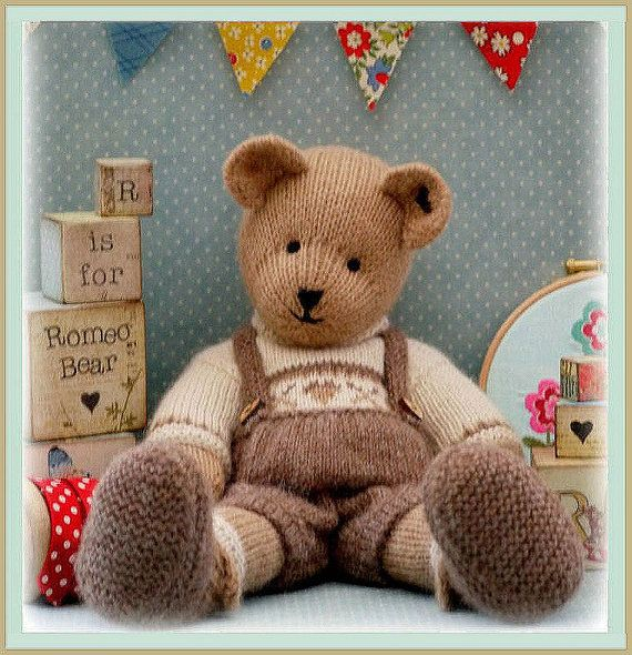 ROMEO Bear / Teddy Bear Knitting Pattern/ PDF/ by maryjanestearoom, $4.90