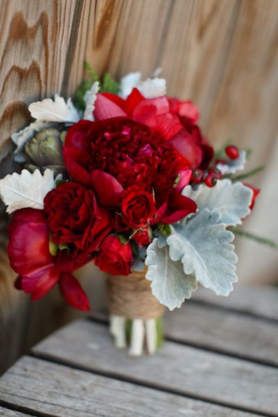 Deep Red Peonies and Dusty Miller Greenery