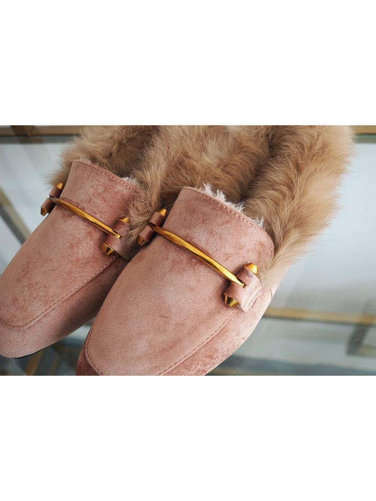 'Brittany' Pink Faux Suede Leather Fur Loafers