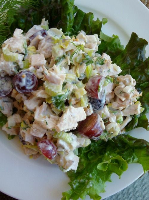 Chicken Salad. Fresh ingredients like dill, celery, green onions and red grapes. Toss with Greek yogurt, mayo and lemon juice.