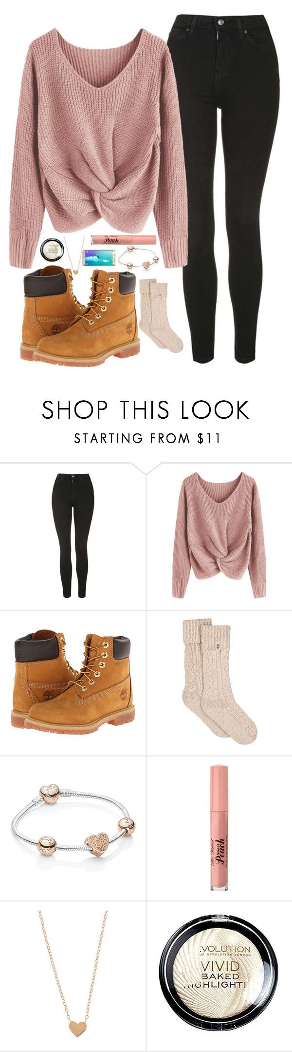 """""""Winter boots are back! 👢"""" by lucy-wild on Polyvore featuring Topshop, Timberland, UGG, Pandora, Too Faced Cosmetics and Samsung"""