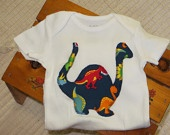 Dinosaur baby boy onesie with footprints on the rear, bodysuit, one piece, creeper, shower gift