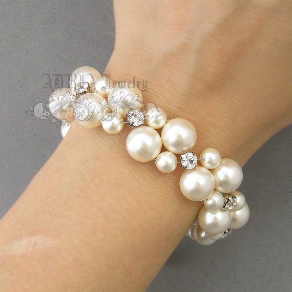 Pearl Bridal Bracelet Chunky Wedding Bracelet by adriajewelry