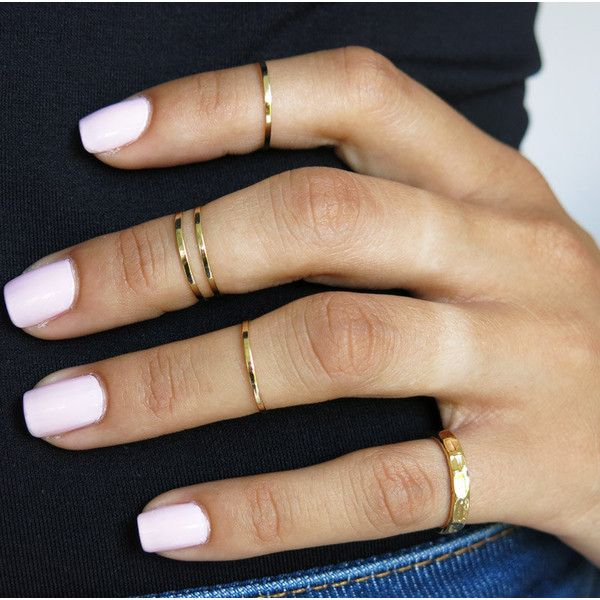 set of 5 gold knuckle rings, pinky ring, mid knuckle ring, above... (24 CAD) ❤ liked on Polyvore featuring beauty products, nails, rings, jewelry, makeup and nail polish