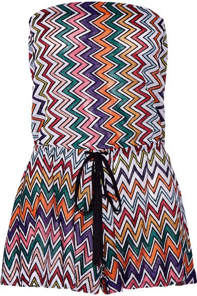Missoni's colorful playsuit is perfect for summer or vacations. Crafted from the label's signature metallic zigzag crochet-knit, this strapless style pulls on and has a drawstring waist. Wear it to the beach over a bikini with sandals and a straw hat.