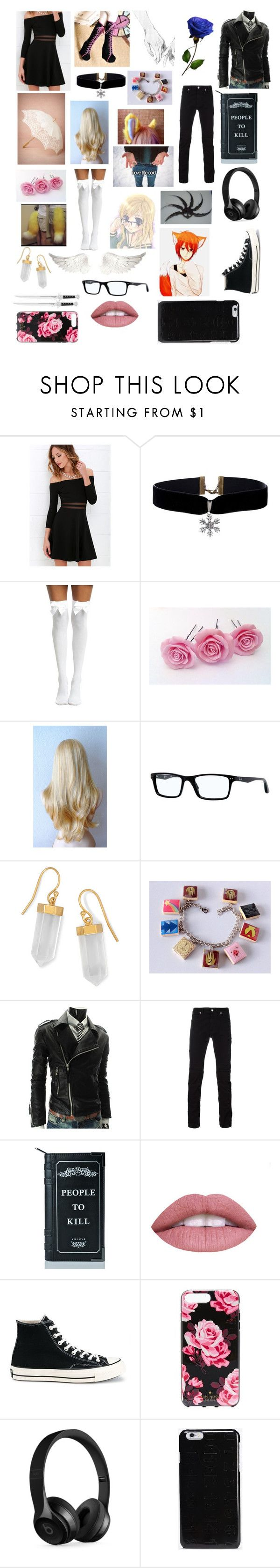 """A Charcus Movie Date~"" by fashion-anime-animals-reading ❤ liked on Polyvore featuring Betsey Johnson, LULUS, Ray-Ban, BillyTheTree, Versace, Killstar, Converse, Kate Spade, Beats by Dr. Dre and Maison Margiela"
