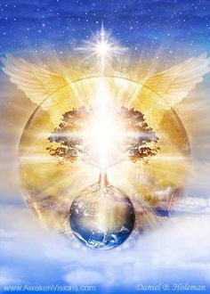 """For you are, in essence, light & you have the power to transcend physical reality & raise your awareness by connecting with the eternal light & love inside you. Through light all has come & through light all is transformed & healed."" Toni Carmine Salerno ~ Blue Angel Oracle ♥♥ Beautiful Artwork by Daniel B Holeman"