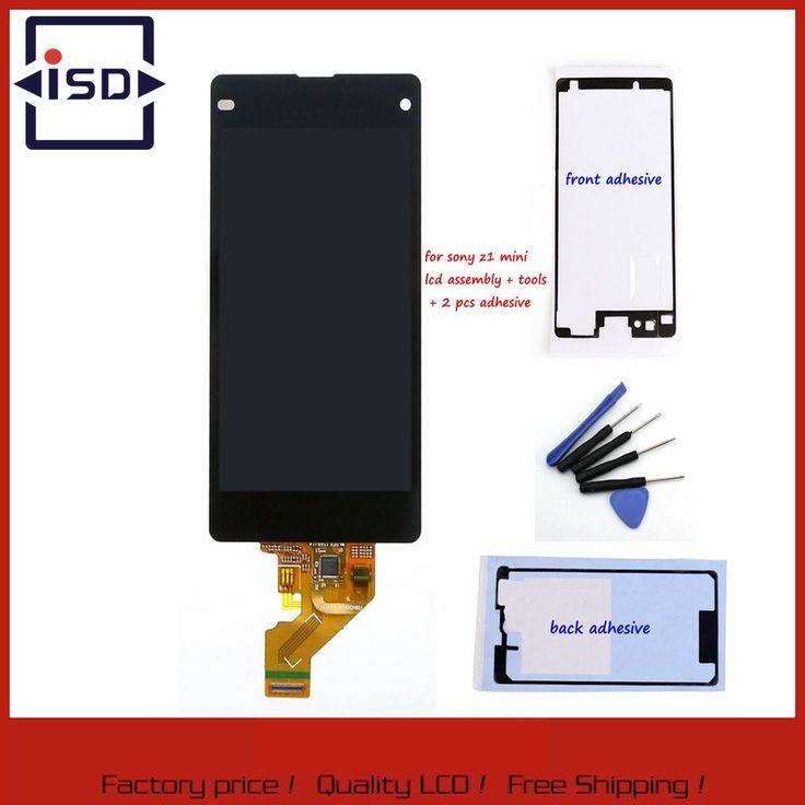 Hitam lcd screen untuk sony xperia z1 mini compact d5503 m51w display touch screen dengan digitizer majelis + alat + adhesive sticker