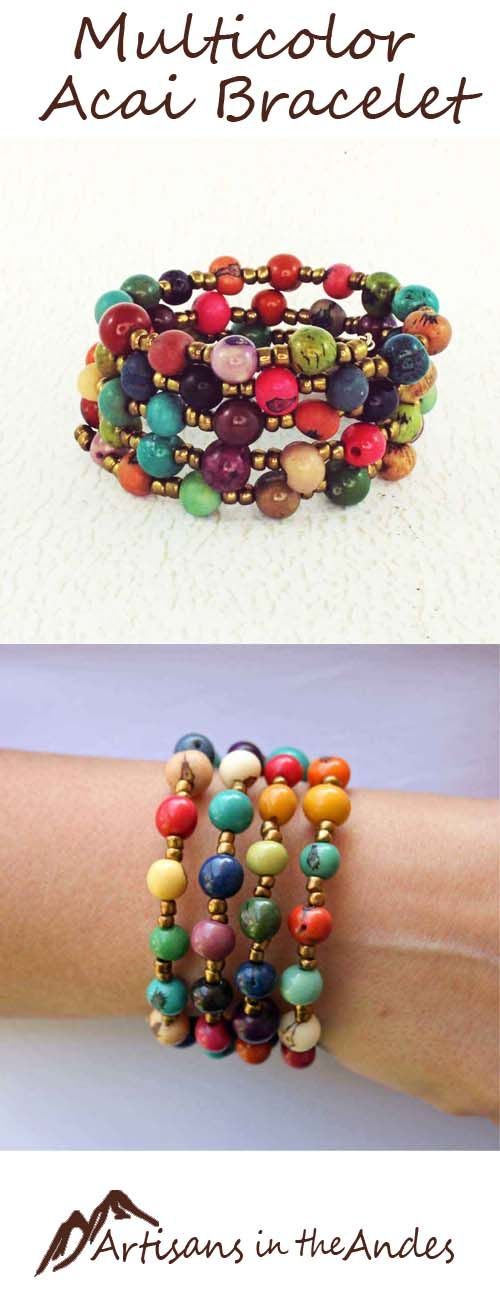 Lovely beaded bracelet in all the colors of the rainbow.  This bracelet will compliment any outfit.  It will go around your wrist 4 times, and will adjust to any size of wrist.  There is no clasp, so it is easy to take it off and on.  Once it is on your wrist, the 4 layers keep it steadily in place and it will not fall off.