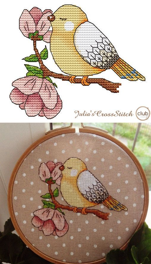 Free Cross Stitch Pattern: A Spring Bird. Wonderful design by Kseniya Adonyeva, simply beautiful! Más