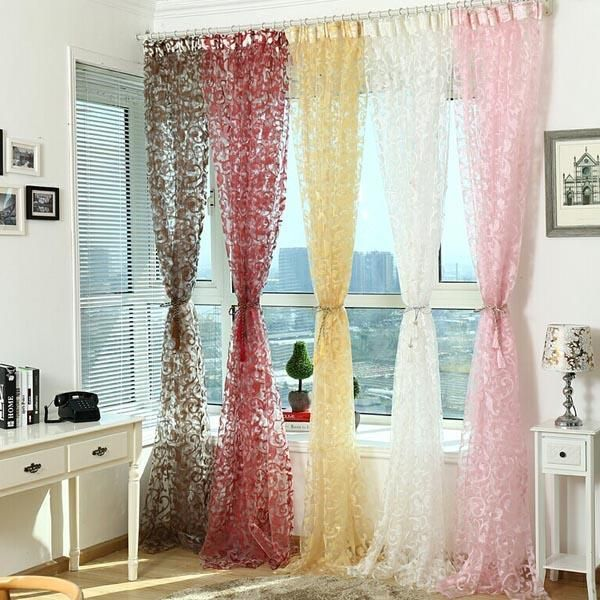 1x Door Balcony Window Floral Sheer Voile Tulle Curtain Drape Panel 200x90cm