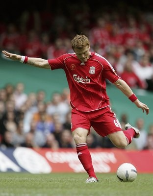 CARDIFF, UNITED KINGDOM - AUGUST 13: John Arne Riise of Liverpool scores the opening goal during the FA Community Shield match between Liverpool and Chelsea at the Millennium Stadium on August 13, 2006 in Cardiff, Wales. (Photo by Phil Cole/Getty Images