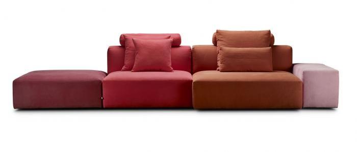 BLOCK SYSTEM SOFA ブロック システムソファ モジュール型のソファで、横幅だけでなく奥行きや アーム幅も選ぶことが可能です。 ユニットごとに張地色を変えて、遊びを利かせてみると楽しいソファです。photo1