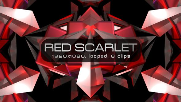 Red Scarlet Video Animation | 6 clips | Full HD 1920×1080 | Looped | Photo JPEG | Can use for VJ, club, music perfomance, party, concert, presentation | #3d #dance #edm #fast #loops #music #party #red #scarlet #sharp #spinning #techno #trap #vj #vjloops