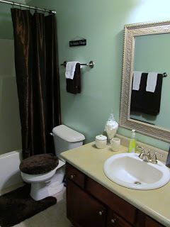 Teal and brown bath home decor pinterest brown bath for Sea green bathroom accessories