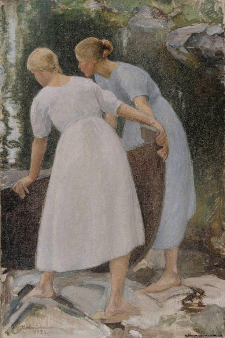 Finnish National Gallery - Girls Pushing a Boat, 1925, Pekka Halonen