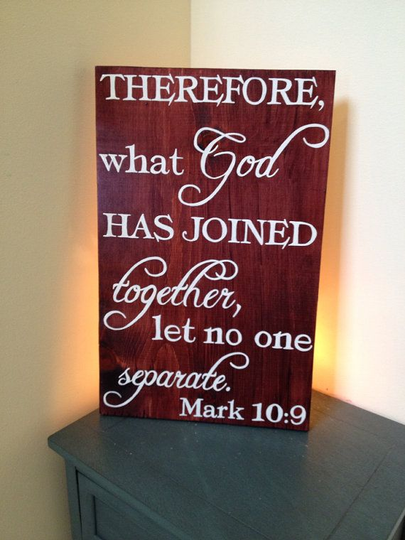 What God has Joined together let no one Separate. Mark 10:9 Wedding gift, by MamaHessPainting, $30.00