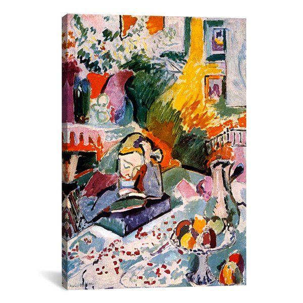 """Whether you're rounding out your gallery wall or starting your guest room decor from scratch, this canvas reproduction of Henri Matisse's """"Interior with a Young Girl"""" is a must-have addition to your favorite aesthetic. Its painterly details add an artful touch to your decor, while its muted multicolor palette is perfect paired against a crisp white wall for a contrasting look. Play up this piece's versatility by adding it to a traditional living room ensemble alongside a..."""