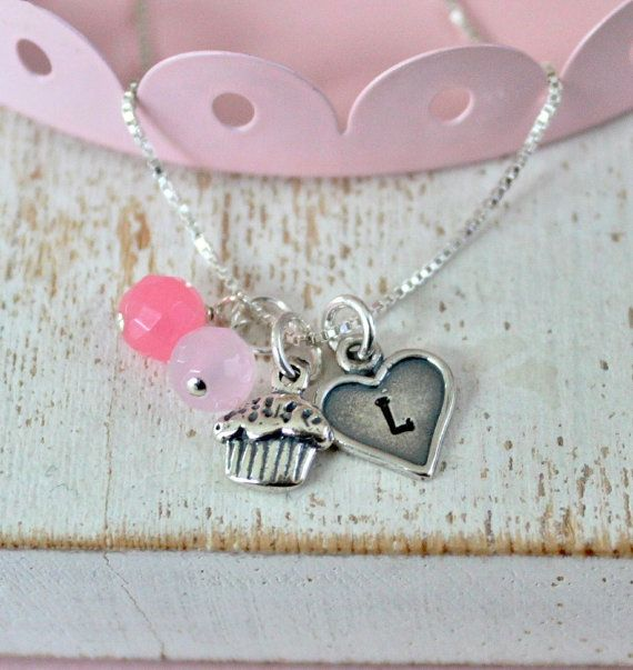 Birthday Cupcake Girls Necklace ...Personalized Girls Jewelry Childrens Necklace Pink Cupcake Love