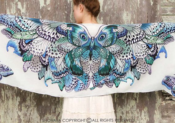 SILK Butterfly scarf, Hand painted Butterflies in Blue Aqua, stunning unique and useful, perfect gift