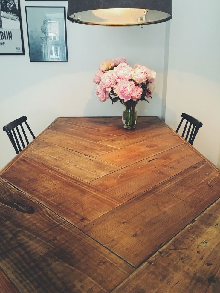 Custom Herringbone Table For Dining Room