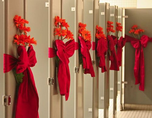 Taking decor to the bathroom! I'd leave off the flowers, but I do like the bows!