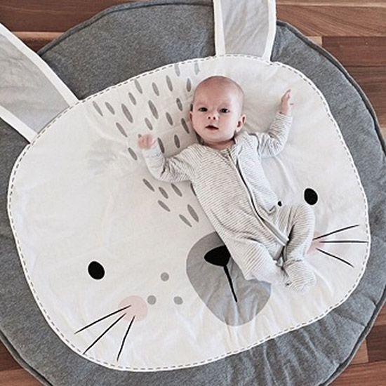 Modern Playmats - Bunny Polar Bear Swan Playmat - Baby Blankets | Small for Big