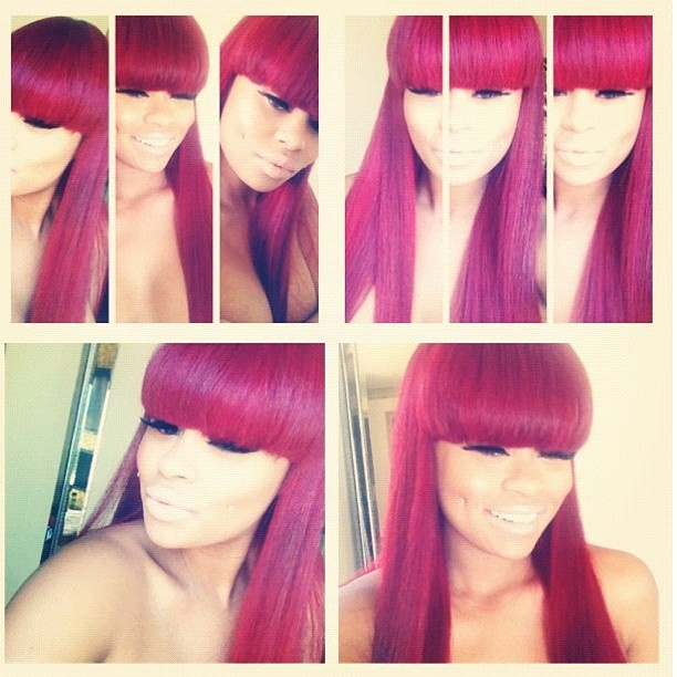 Blac chyna cherry red hair with Chinese bangs