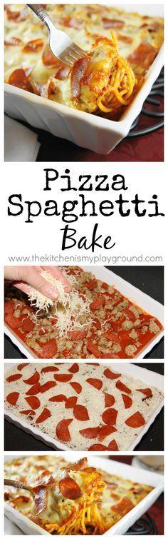 Easy Pizza Spaghetti Bake www.thekitchenismyplayground.com