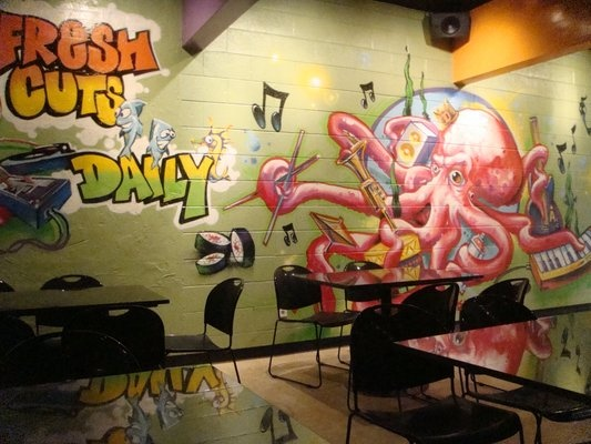 Salt Lake City, UT - Graffiti sea creatures grace the walls at Sushi Groove, and live jazz or a DJ plays for diners enjoying rolls like spicy albacore with avocado, marlin, mango, and eel sauce. Also find straight nigiri and sashimi, plus inventive desserts.