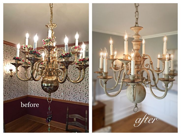 Fixer Upper Inspired! ✨✨✨Brass Chandelier Makeover