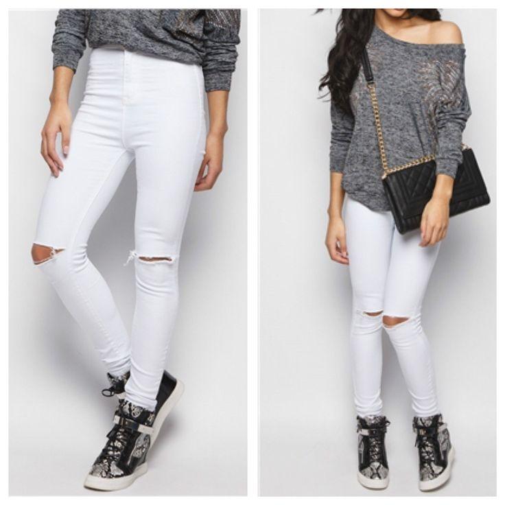 White Ripped Knee Cut High Waisted Skinny Jeans  http://www.rebelrebelwear.co.uk/white-ripped-knee-cut-high-waisted-skinny-jeans