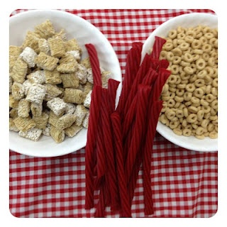 horse feed {shredded wheat (hay) and Cherrios (oats)} and rope snacks {licorice}